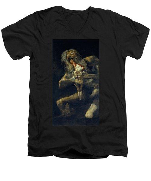 Saturn Devouring His Son Men's V-Neck T-Shirt