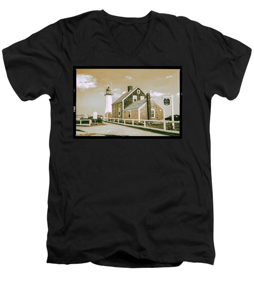Men's V-Neck T-Shirt featuring the photograph Scituate Lighthouse In Scituate, Ma by Peter Ciro