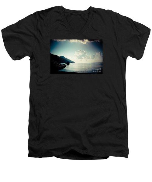 Seascape Sunrise Sea And Clouds  Men's V-Neck T-Shirt