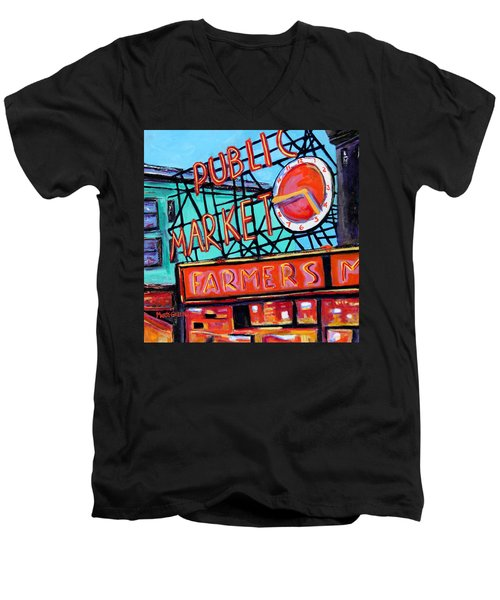 Men's V-Neck T-Shirt featuring the painting Seattle Public Market by Marti Green