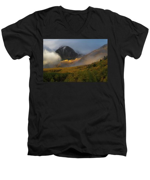 Men's V-Neck T-Shirt featuring the photograph Siever's Mountain by Steve Stuller