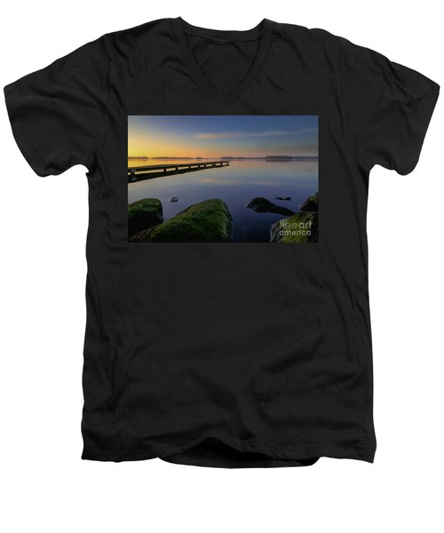 Men's V-Neck T-Shirt featuring the photograph Silence Lake by Franziskus Pfleghart