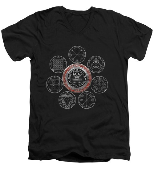Silver Seal Of Solomon Over Seven Pentacles Of Saturn On Black Canvas  Men's V-Neck T-Shirt