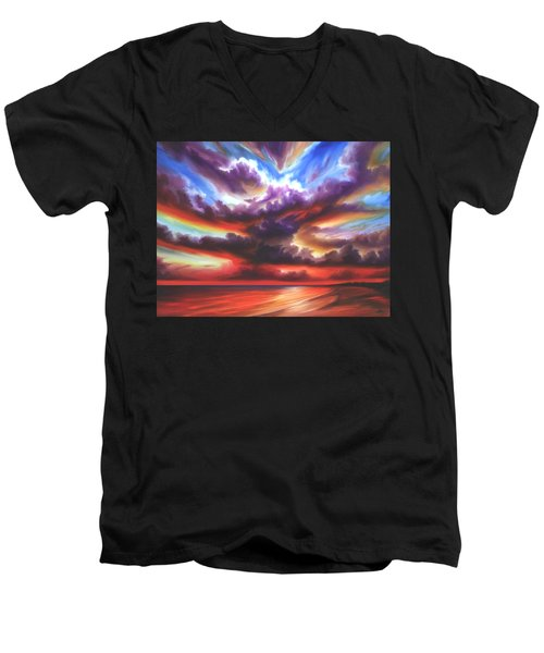 Men's V-Neck T-Shirt featuring the painting Skyburst by James Christopher Hill