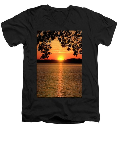 Smith Mountain Lake Silhouette Sunset Men's V-Neck T-Shirt
