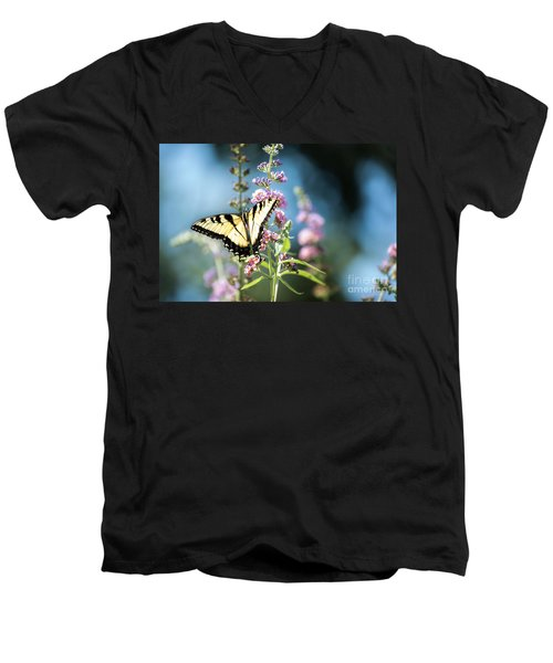 Men's V-Neck T-Shirt featuring the photograph Spread Your Wings by Judy Wolinsky