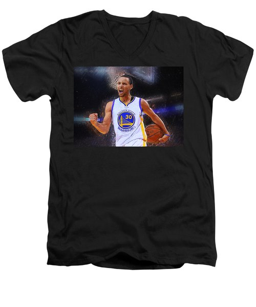 Stephen Curry Men's V-Neck T-Shirt by Semih Yurdabak