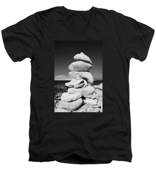 Stone Tower On Halki Island Men's V-Neck T-Shirt