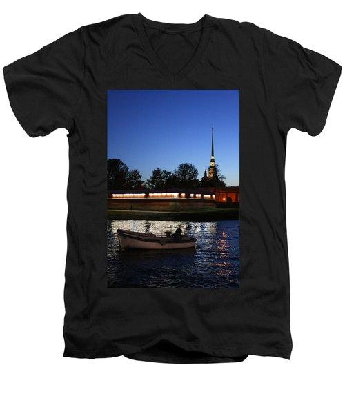 St.petersburg At Night Men's V-Neck T-Shirt