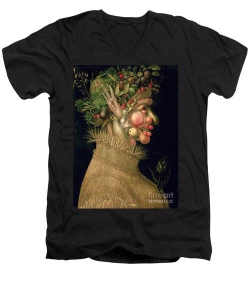Summer Men's V-Neck T-Shirt by Giuseppe Arcimboldo