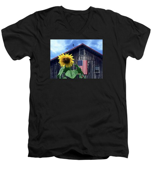 Sunflower By Barn Men's V-Neck T-Shirt by Sally Weigand