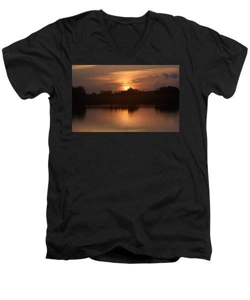 Sunrise On The Bayou Men's V-Neck T-Shirt by John Glass