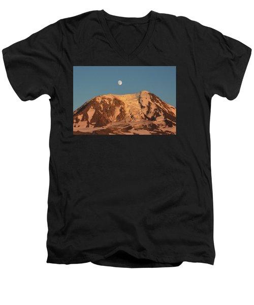Sunset And Moonrise At Mt Adams Men's V-Neck T-Shirt
