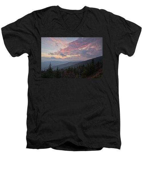 Sunset At Clingman's Dome Men's V-Neck T-Shirt