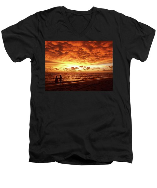 Men's V-Neck T-Shirt featuring the photograph Sunset Before The Storm by Melanie Moraga