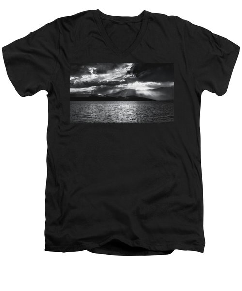 Men's V-Neck T-Shirt featuring the photograph Sunset by Hayato Matsumoto