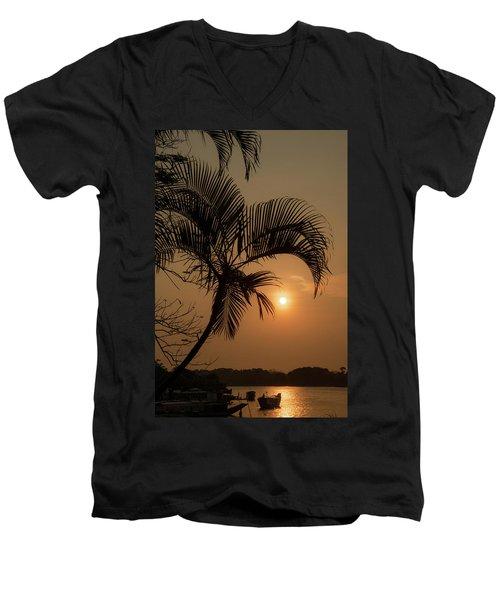 sunset Huong river Men's V-Neck T-Shirt