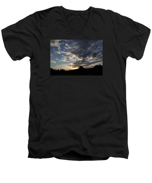 Men's V-Neck T-Shirt featuring the photograph Sunset On Hunton Lane #1 by Carlee Ojeda