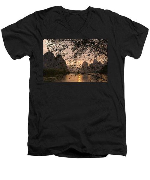Sunset On The Li River Men's V-Neck T-Shirt