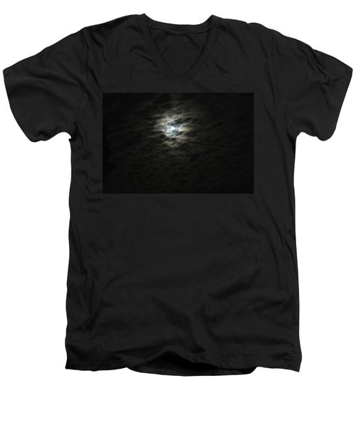 Men's V-Neck T-Shirt featuring the photograph super moon II by Irma BACKELANT GALLERIES