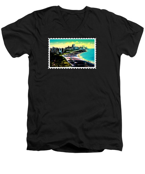 Surreal Colors Of Miami Beach Florida Men's V-Neck T-Shirt by Elaine Plesser