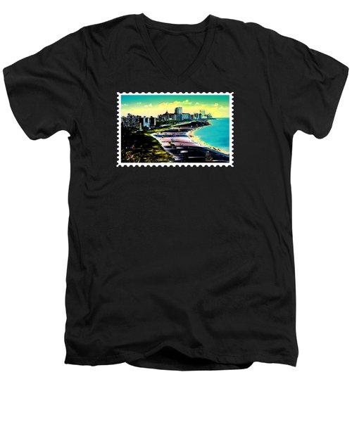 Surreal Colors Of Miami Beach Florida Men's V-Neck T-Shirt