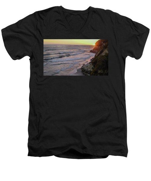 Swamis Sunset Men's V-Neck T-Shirt by Mark Barclay