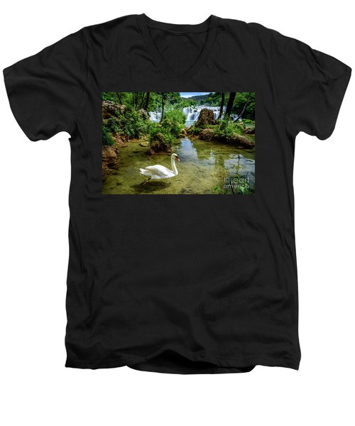 Swan In The Waterfalls Of Skradinski Buk At Krka National Park In Croatia Men's V-Neck T-Shirt