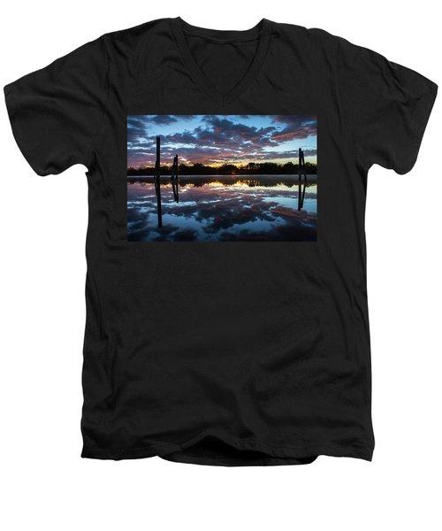 Symetry On The River Men's V-Neck T-Shirt