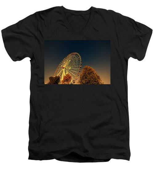 Texas Star Ferris Wheel Men's V-Neck T-Shirt by Douglas Barnard