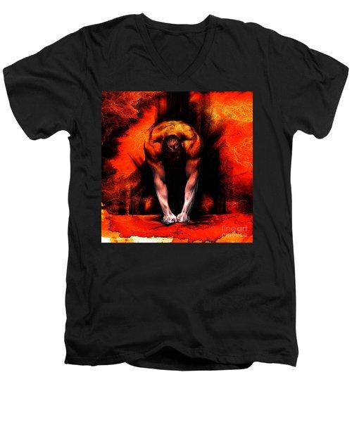 Textured Anger Men's V-Neck T-Shirt
