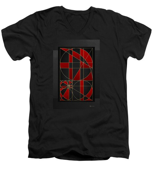 The Alchemy - Divine Proportions - Red On Black Men's V-Neck T-Shirt by Serge Averbukh