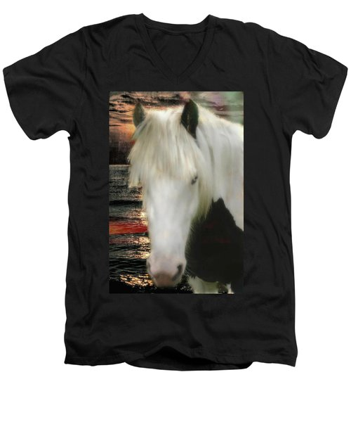 The Beautiful Face Of A Gypsy Vanner Horse Men's V-Neck T-Shirt