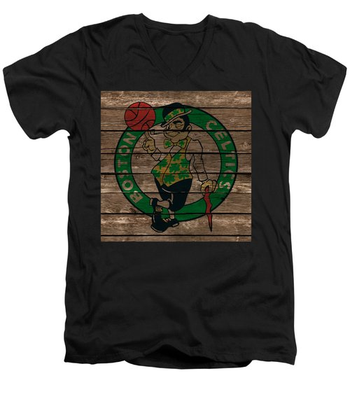 The Boston Celtics 1e Men's V-Neck T-Shirt by Brian Reaves