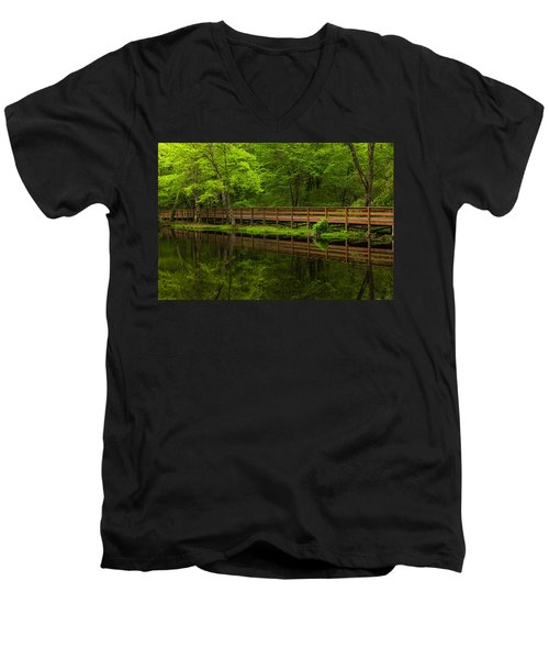 The Bridge Men's V-Neck T-Shirt by Karol Livote