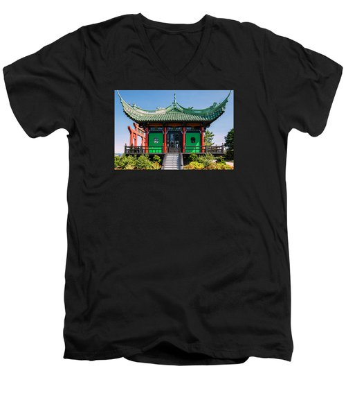 The Chinese Tea House Men's V-Neck T-Shirt by Sabine Edrissi