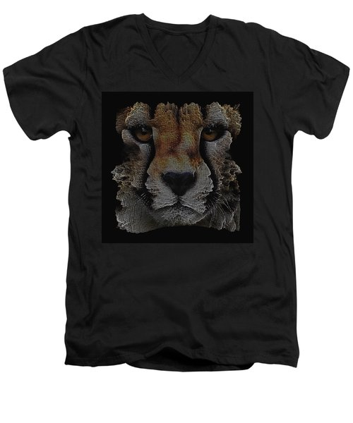The Face Of A Cheetah Men's V-Neck T-Shirt by ISAW Gallery