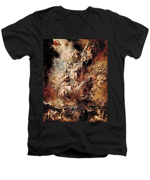 Men's V-Neck T-Shirt featuring the painting The Fall Of The Damned by Peter Paul Rubens