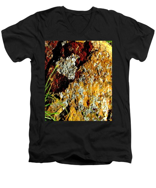 Men's V-Neck T-Shirt featuring the photograph The Rock by Lenore Senior
