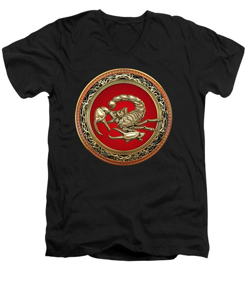 Treasure Trove - Sacred Golden Scorpion On Black Men's V-Neck T-Shirt by Serge Averbukh