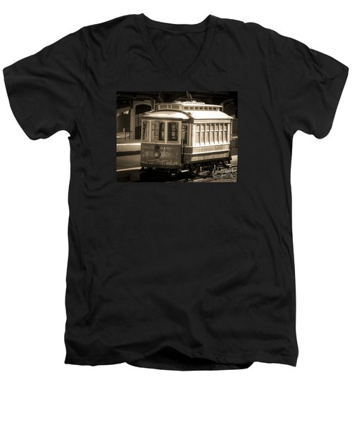 Men's V-Neck T-Shirt featuring the photograph Vintage Train Trolley by Melissa Messick