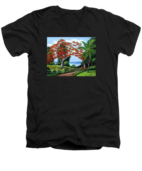 Tropical Landscape Men's V-Neck T-Shirt by Luis F Rodriguez