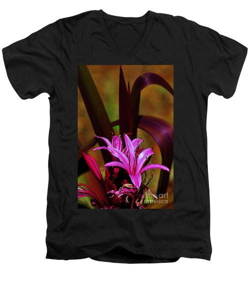 Tropical Lily Men's V-Neck T-Shirt by Craig Wood