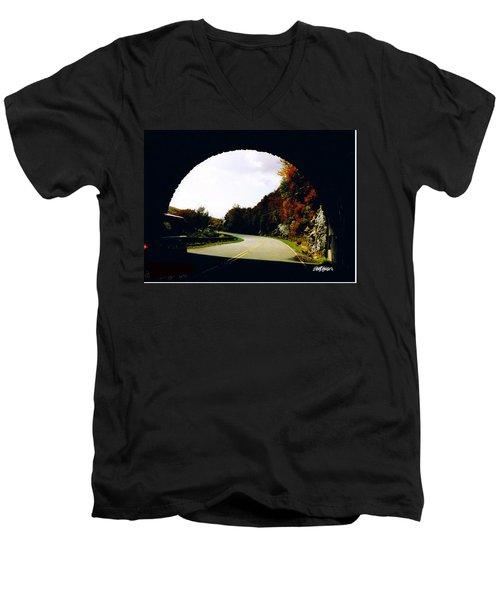 Tunnel Vision Men's V-Neck T-Shirt by Seth Weaver