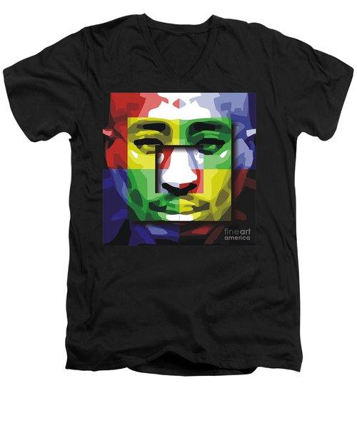 Tupac 4x Men's V-Neck T-Shirt