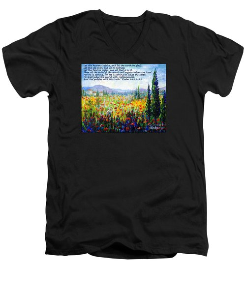 Men's V-Neck T-Shirt featuring the painting Tuscany Fields With Scripture by Lou Ann Bagnall
