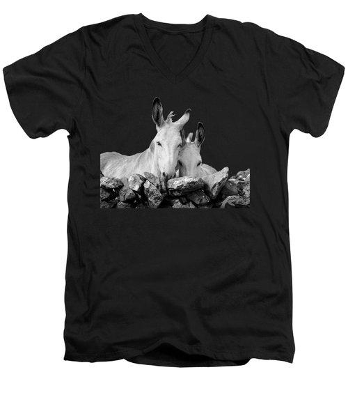 Two White Irish Donkeys Men's V-Neck T-Shirt by RicardMN Photography