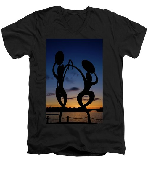 United In Celebration Sculpture At Sunset 5 Men's V-Neck T-Shirt by John McArthur