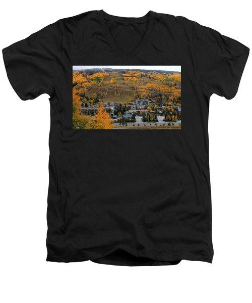 Vail Colorado Men's V-Neck T-Shirt by Fiona Kennard