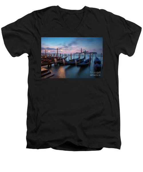 Men's V-Neck T-Shirt featuring the photograph Venice Dawn by Brian Jannsen